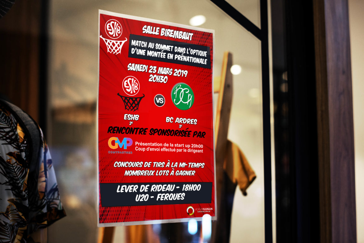 Poster sign mockup on a window